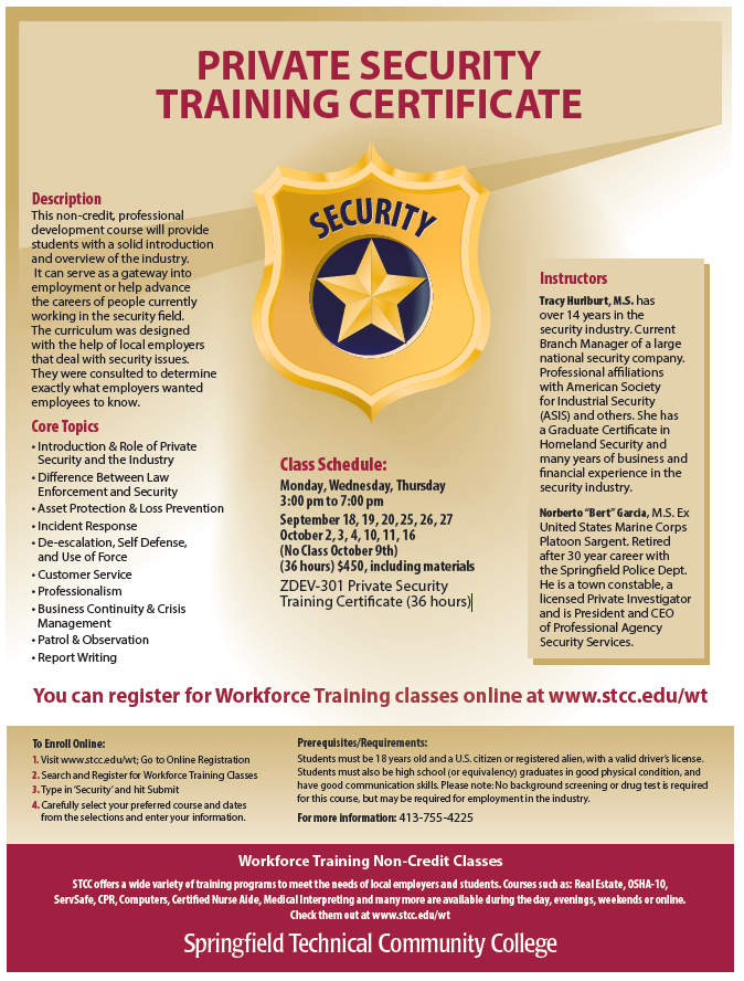 Training Certificate | Springfield Technical Community College Now Offering Private